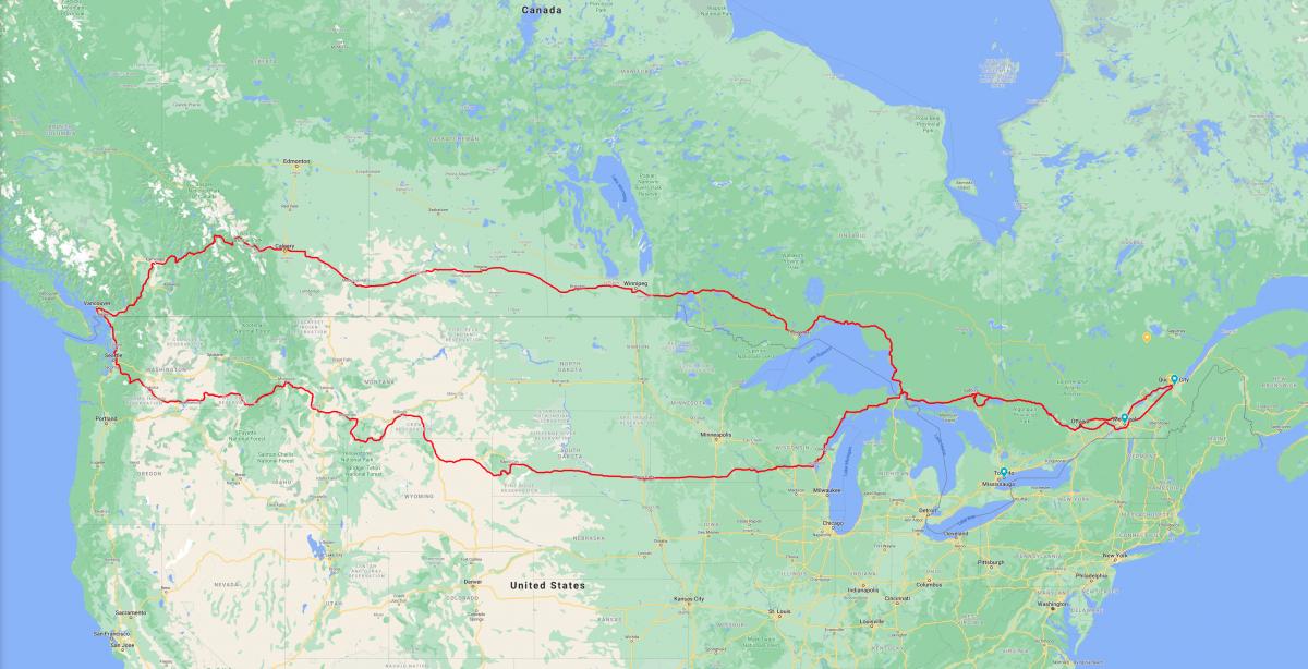 Le trajet de notre traversée du Canada